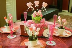 Dining Room : Gorgeous cute dining table decorations ideas for valentine day with pink glass and cute centrepiece picture - a part of Interesting Romantic Moment At Dining Tables for Excellent Valentine Day