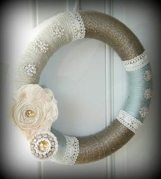 Brown, Aqua, and Cream Lace Wreath