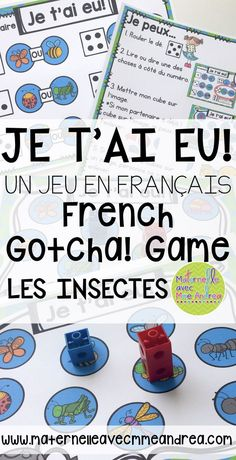 Je t'ai eu! is a fun way to get your students to practice just about any skill you like! Includes game boards to practice vocabulary, letter names/sounds, sight words, « sons composés » (ou, on, oi), and a couple of EDITABLE game boards so that you can have your students practice anything or any words you want! | Les insectes