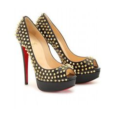 Christian Louboutin Black Studded Peep-Toe #Repin By:Pinterest++ for iPad#