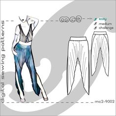 1cad96131 Harem Dhoti Pants Salwar with High Crotch   Side Wraps (sizes  S-M-L-XL)  Digital PDF Sewing Pattern for Women  mc2patterns  mc2-9002. PantalonesTabla  De ...