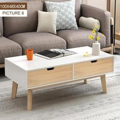 Nordic Wooden Coffee Table Living Room Furniture Multi-function Tea Table mesa de centro sala Modern Side Table Home Furniture Table Centers, Center Table, Solid Pine Furniture, Sala Vintage, Tv Stand With Drawers, Shared Rooms, Low Tables, Living Room Flooring, Coffee Table With Storage