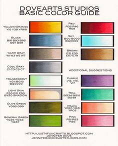 Copic Color Combos: Basic Color Guide by and DoveArt Studios Copic Pens, Copic Art, Copic Sketch Markers, Copics, Copic Color Chart, Copic Markers Tutorial, Spectrum Noir Markers, Color Of The Day, Coloring Tips