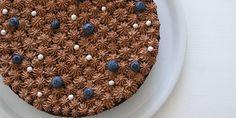 Chokoladekage med blåbær og chokoladecreme