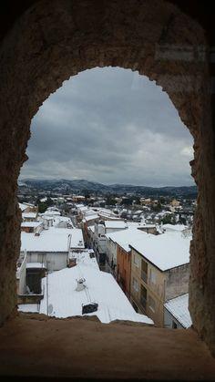 Vistas de #Alcalalí nevado desde la Torre Medieval.