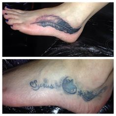 Ricco Diamanté feather tattoo, cover up, before and after. AMAZING