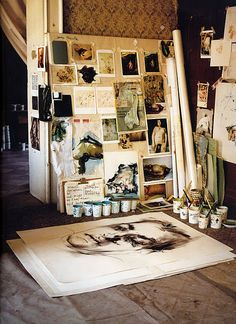 Images of nude paintings in a painter's studio. (Inspiration board/mood board/picture wall, artist studio/office.)