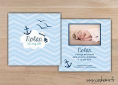 Faire-part de naissance, garçon, bébé - Fichier Imprimable - n°35 ancre, mer, marin, matelot, poisson : Faire-part par cashemir