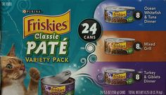 Friskies Classic PATE' Variety Pack - Ocean Whitefish and Tuna Dinner, Mixed Grill, Turkey and Giblets Dinner. Canned Cat Food ** Review more details here : Best Cat Food