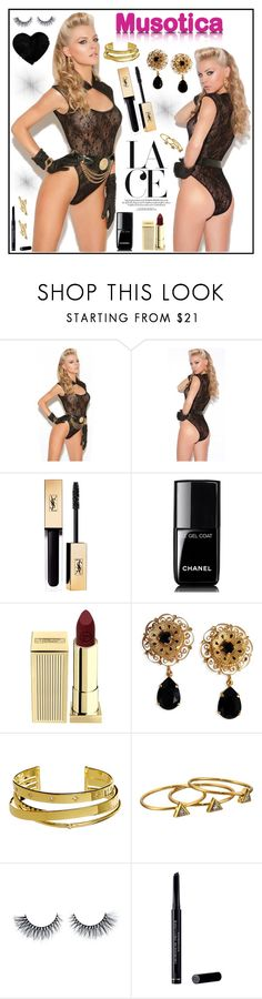 """""""Musotica 1"""" by gaby-mil ❤ liked on Polyvore featuring Yves Saint Laurent, Chanel, Lipstick Queen, Dolce&Gabbana, Elizabeth and James, Gorjana, Christian Dior, Bling Jewelry, lace and musotica"""