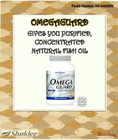 Protect your heart with the best source in fish oil with Shaklee Omega Guard. ^_^  Omega Guard is the world's finest fish oil. It delivers a full spectrum of ultra-pure, pharmaceutical grade omega-3 fatty acids, which studies show help support healthy heart, joint, and brain function. It is made with a proprietary multistep molecular distillation process for the utmost purity and potency.   OmegaGuard contains all seven omega-3 fatty acids, including EPA and DHA, which studies show help…