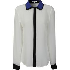 Fi Cream Contrast Brighton Blue and Black Collar Blouse ($39) ❤ liked on Polyvore