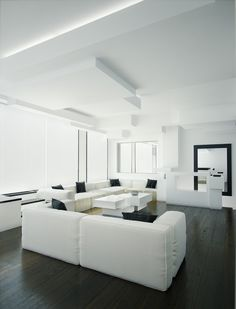 White and black living room. Awesome interior design