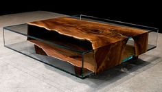 instead of glass, use metal for a base and lay wood slabs on top wooden-furniture-design-table