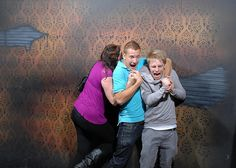 1. The go-to technique of walking through a haunted house is conga line. 2. These are hilarious! 3. I want to know what they are seeing!!!!