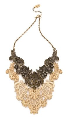 Adia Kibur floral statement necklace, styled with the look of crocheted filigree cast in metal #jewelry