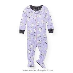 Baby Girl Clothes The Children's Place Baby Little Girls' Stretchie Pajamas, Purplribn 91340, 12-18MOS