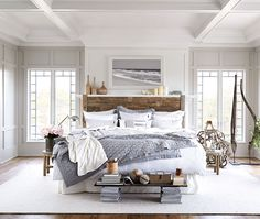 Grey Lexington bed linen with driftwood headboard