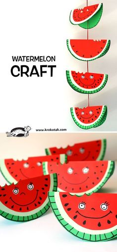 Watermelon craft for kids- cute for Summer