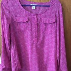 Old navy pink print long sleeve shirt Old navy pink shirt with buttons on sleeve for easy roll up. Loose fitting. Old Navy Tops