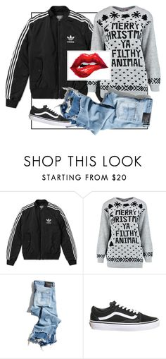 """""""Merry Christmas you filthy animal!"""" by alma202 ❤ liked on Polyvore featuring adidas, R13 and Topshop"""