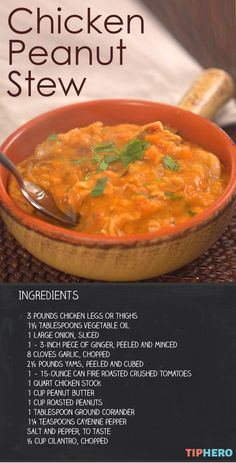 Chicken Peanut Stew - TipHero - Recipes, Ideas & DIYs - Chicken Peanut Stew When you're looking for West African Food, South African Recipes, Soup Recipes, Chicken Recipes, Cooking Recipes, Recipies, Dinner Recipes, Tiphero Recipes, African Peanut Stew