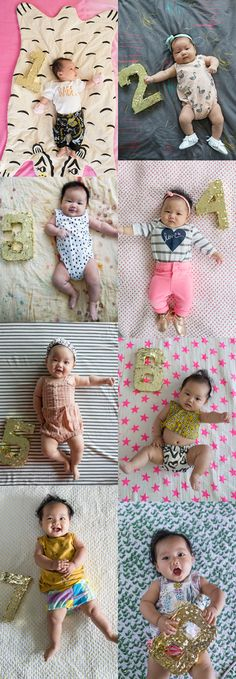 Go gold using bright colors and a fun standout number in this Monthly Baby Milestone Idea from Oh Joy! Monthly Baby Photo Ideas - Track Your Baby's Age in Photos plus FREE Monthly Printable Milestone Stickers and Signs on Frugal Coupon Living.