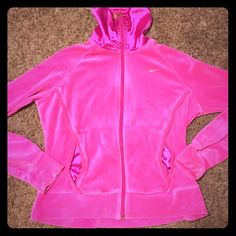 Nike DISCOUNT SHIP 1 HOUR Pink Nike large velour zip up Nike Jackets & Coats