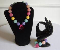 Girls Bubble Necklace & Bracelet Set Rainbow Beads with Pink Teardrop…