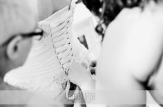 Bride's Lace-Up Wedding Dress Detail – Wedding Photography by Clare Kentish Photographer, Rayleigh, Essex