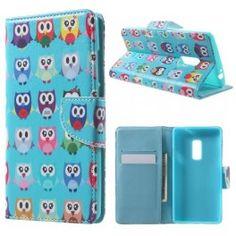One Plus 2 värikkäät pöllöt puhelinlompakko.