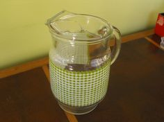 Vintage Green Gingham Print Glass Pitcher with Ice by peacenluv72, $22.50