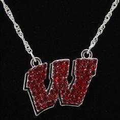Wisconsin Badgers Ladies Rhinestone Necklace