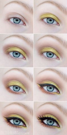 Gorgeous Makeup: Tips and Tricks With Eye Makeup and Eyeshadow – Makeup Design Ideas Summer Eyeshadow, Yellow Eyeshadow, Colorful Eyeshadow, Neutral Eyeshadow, Yellow Makeup, Blue Eye Makeup, Eyeshadow Makeup, Makeup Brushes, Makeup Remover