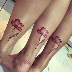 Tiny Rose Tattoos, Bff Tattoos, Family Tattoos, Friend Tattoos, Mini Tattoos, Cute Tattoos, Flower Tattoos, Body Art Tattoos, Tattos