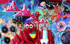 From Whitney Museum of American Art, Kenny Scharf, When the Worlds Collide Oil and acrylic spray paint on canvas, 122 × 209 in New Look Dior, Le Pop Art, Kenny Scharf, 1980s Art, Flowers In The Attic, New York Graffiti, Hampton Art, Art Hub, Spray Paint On Canvas