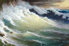 """Oil painting by George Dmitriev """"Waves at Rocks"""" Landscape Paintings, Ocean Painting, Art Painting Oil, Sea Painting, Art, Seascape Paintings, Boat Painting, Ocean Art, Scenery"""