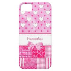 A girly pink pattern iPhone 5 Barely There Case with cute hearts and polka dots on the top and a trendy patchwork quilt on the bottom and embellished with a pretty in pink ribbon. Personalize by adding your name to this stylish scrapbook style design. Perfect for the teen girly girl into fashion!
