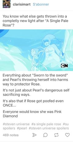 Pearl and her sacrifices for Rose Quartz/Pink Diamond
