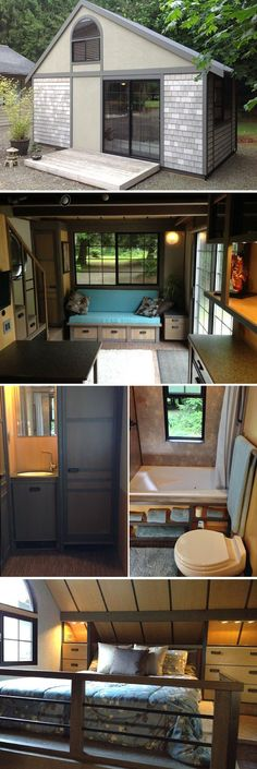 A Japanese-inspired tiny house that spans 200 sq ft- jetted tub! A Japanese-inspired tiny house that spans 200 sq ft- jetted tub! Modern Tiny House, Tiny House Living, Tiny House Plans, Japanese Tiny House, Tiny House 200 Sq Ft, Japan Small House, Tiny House Bedroom, Living Room, Tiny House Movement