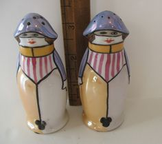 Vintage Noritake Art Deco Salt Pepper Shakers s P Mask Face Hand Painted 1930s - Bee keepers?