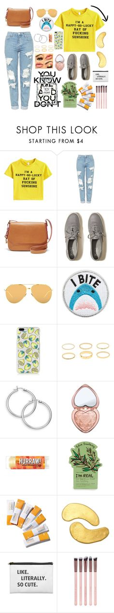 """""""Happy-Go-Lucky"""" by veganwithachainsaw ❤ liked on Polyvore featuring Topshop, FOSSIL, Hollister Co., Linda Farrow, Skinnydip, Too Faced Cosmetics, Chanel, Tony Moly, Clinique and MZ Skin"""