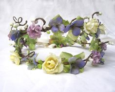 Flower Hair Wreath  Lavender & Creamy White by BloomDesignStudio, $42.00