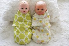 baby doll swaddlers! no pattern but it's just a mini version of a pattern available online. #giftsforgirls