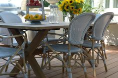 Sika Design Bistro Chairs in grey & Colonial Teak table from the Affaire Collection. #sikadesign @oharainteriors