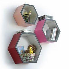 Trista - [Gorgeous Color] Hexagon Leather Wall Shelf / Bookshelf / Floating Shelf (Set of 3)