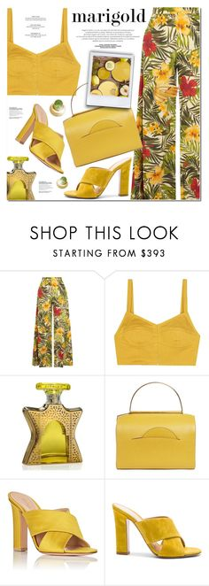 """COLOR WITH MARIGOLD"" by nanawidia ❤ liked on Polyvore featuring Miguelina, Isa Arfen, Bond No. 9, Roksanda, Gianvito Rossi, Judith Hendler, contestentry, polyvoreeditorial, polyvorecontest and marigold"