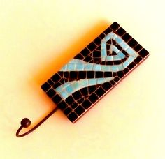 Ceramic tile mosaic hanging hook by Mosaicloud on Etsy
