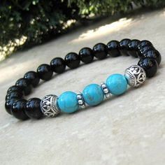 Woman's Turquoise and Black Onyx Healing Bracelets - Yoga Bracelet - Prayer Bracelet - Energy Jewelr