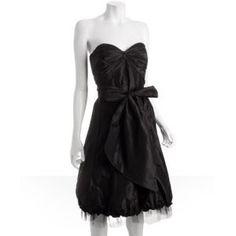 black silk taffeta petticoat strapless dress